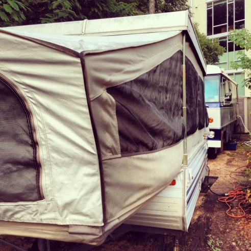 """Glamping"" - Shorthand for glamorous camping; luxury camping."