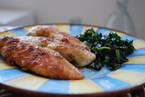 Homemade chicken tenders and chard, a favorite in my house