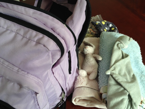Ready for Takeoff: A full back pack and my kids blankets and lovies