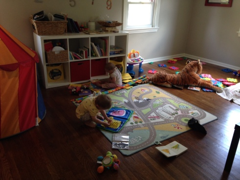 This is what independent play looks like in our house.  Messy, but calm.
